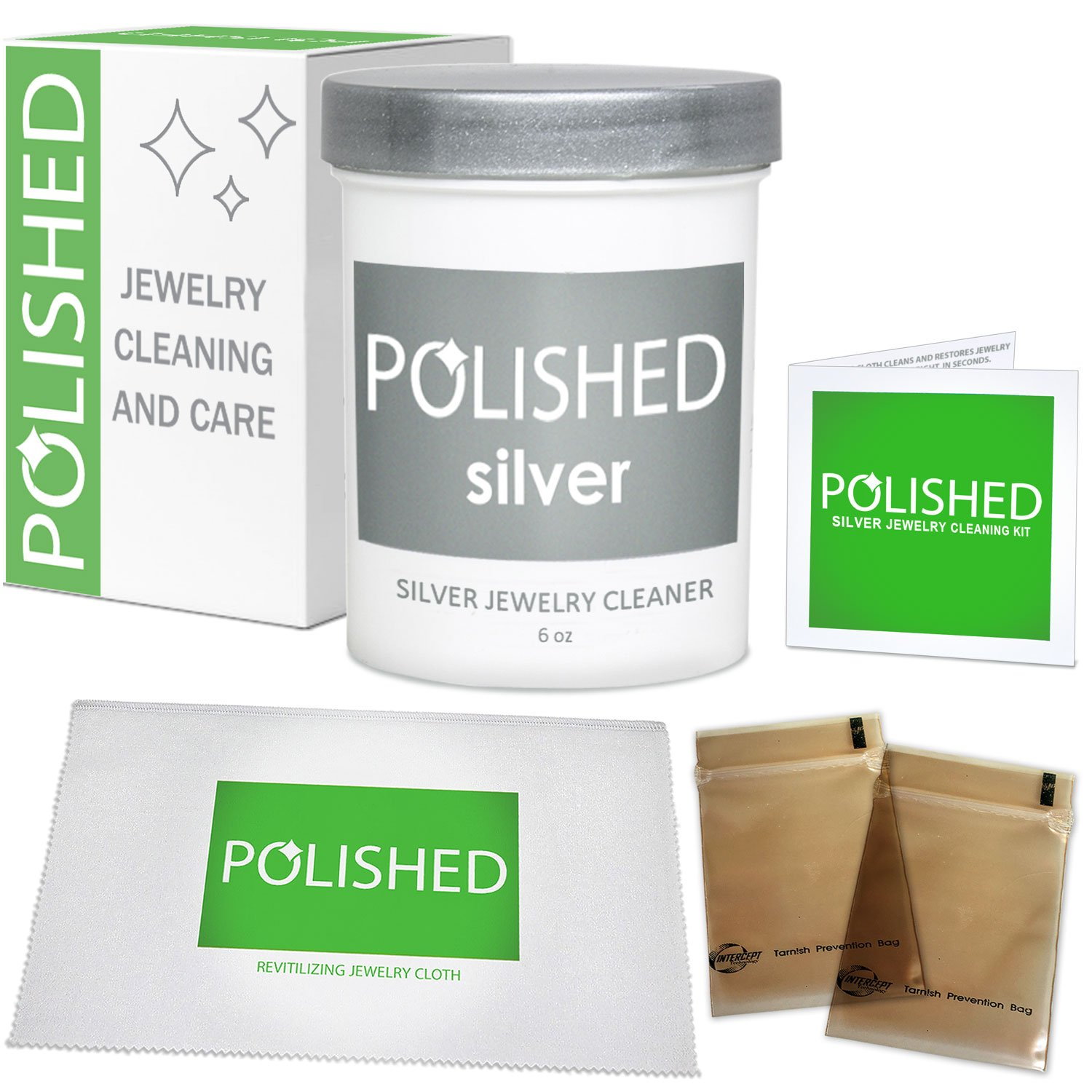Polished Silver Jewelry Cleaner Kit - Professional Jewelry Cleaning in 1-Minute | Silver Cleaning Solution, Polishing Cloth + Anti-Tarnish Jewelry Bags | Made in USA + Best Sterling Silver Cleaner