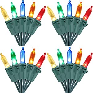 Brizled 4 Pack LED Christmas Lights, 100 LED 33ft Mini String Lights, 120V UL Certified for Indoor and Outdoor Decoration, Patio and Christmas Tree, Multi-Color