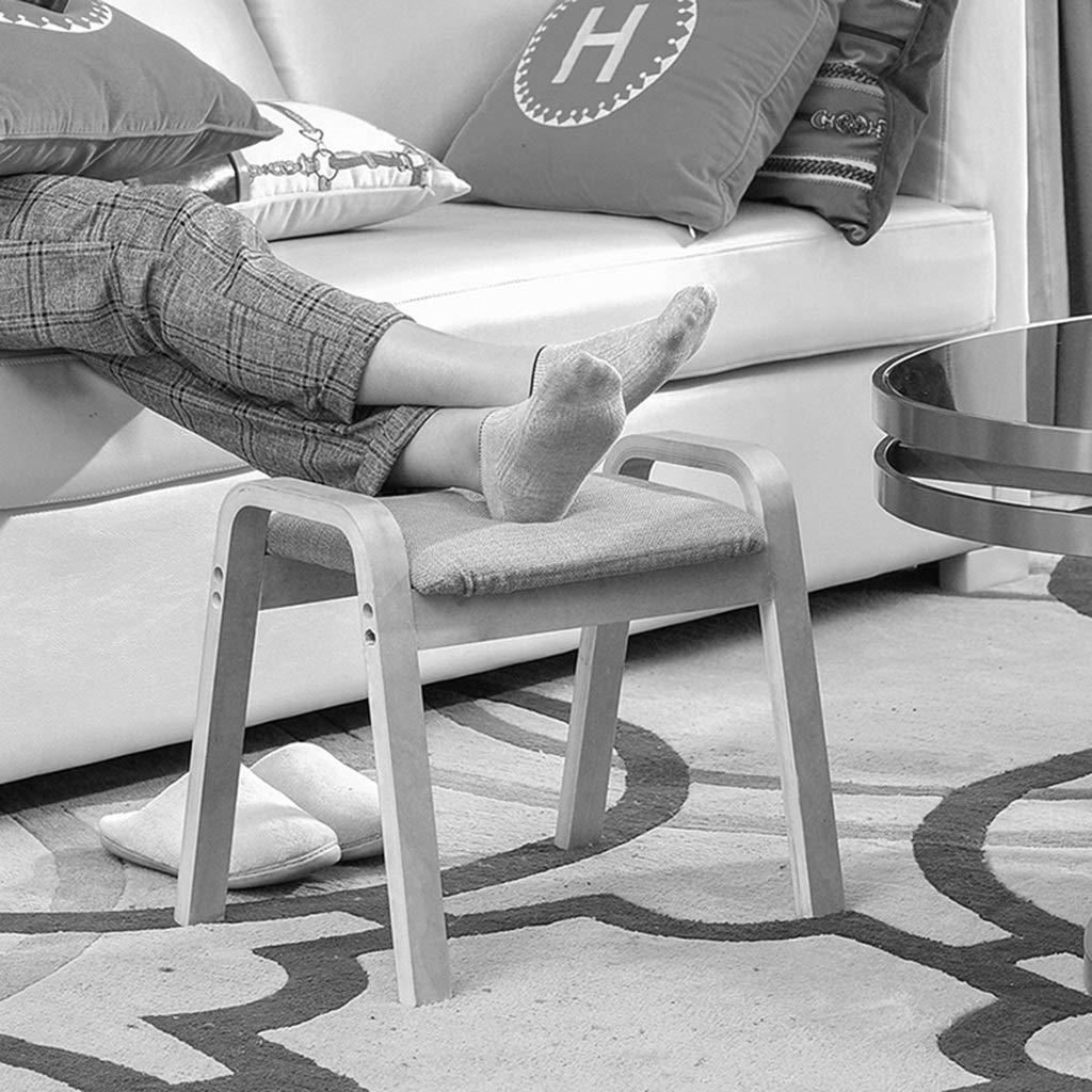 Tabouret bas Canap/é en bois rembourr/é Ottoman Petit banc Accoudoir 4 Pied Tissu Chaussures Tabouret Cheville Amovible Lavable Housse De Si/ège
