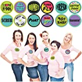 Big Dot of Happiness 90's Throwback - 1990s Party Funny Name Tags - Party Badges Sticker Set of 12