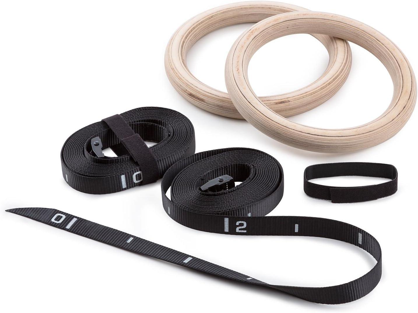 y anillos de gimnasia//par Sport con anillos de cuerda para ni/ños y adultos de madera de abedul cierre r/ápido, nylon correas, 23 cm de di/ámetro interior, 2,8 cm di/ámetro Capital sports anillos de gimnasia de madera acrobacias