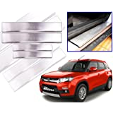 Lowrence Car Door Stainless Steel Scuff Plate Foot Steps For-Maruti Suzuki - Brezza