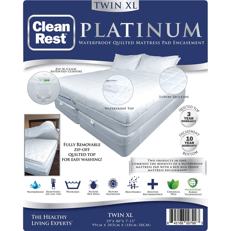 CleanRest Platinum Waterproof, Allergen Bed Bug Blocking Quilted Pad Encasement Twin XL Mattress Protector, TwinXL, White