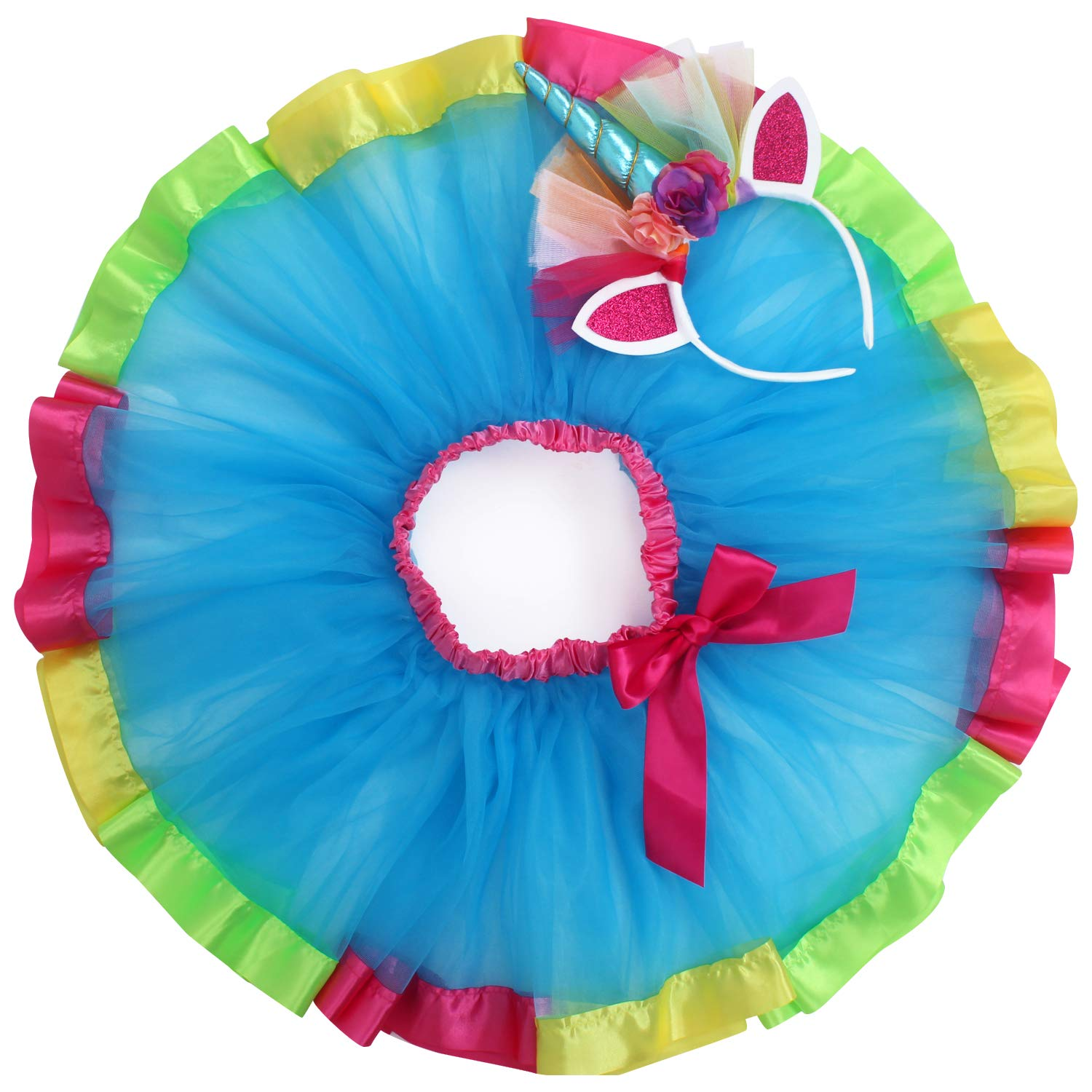 Rainbow Tutu Dress Birthday Outfit for Little Girls with Headband and Bracelets