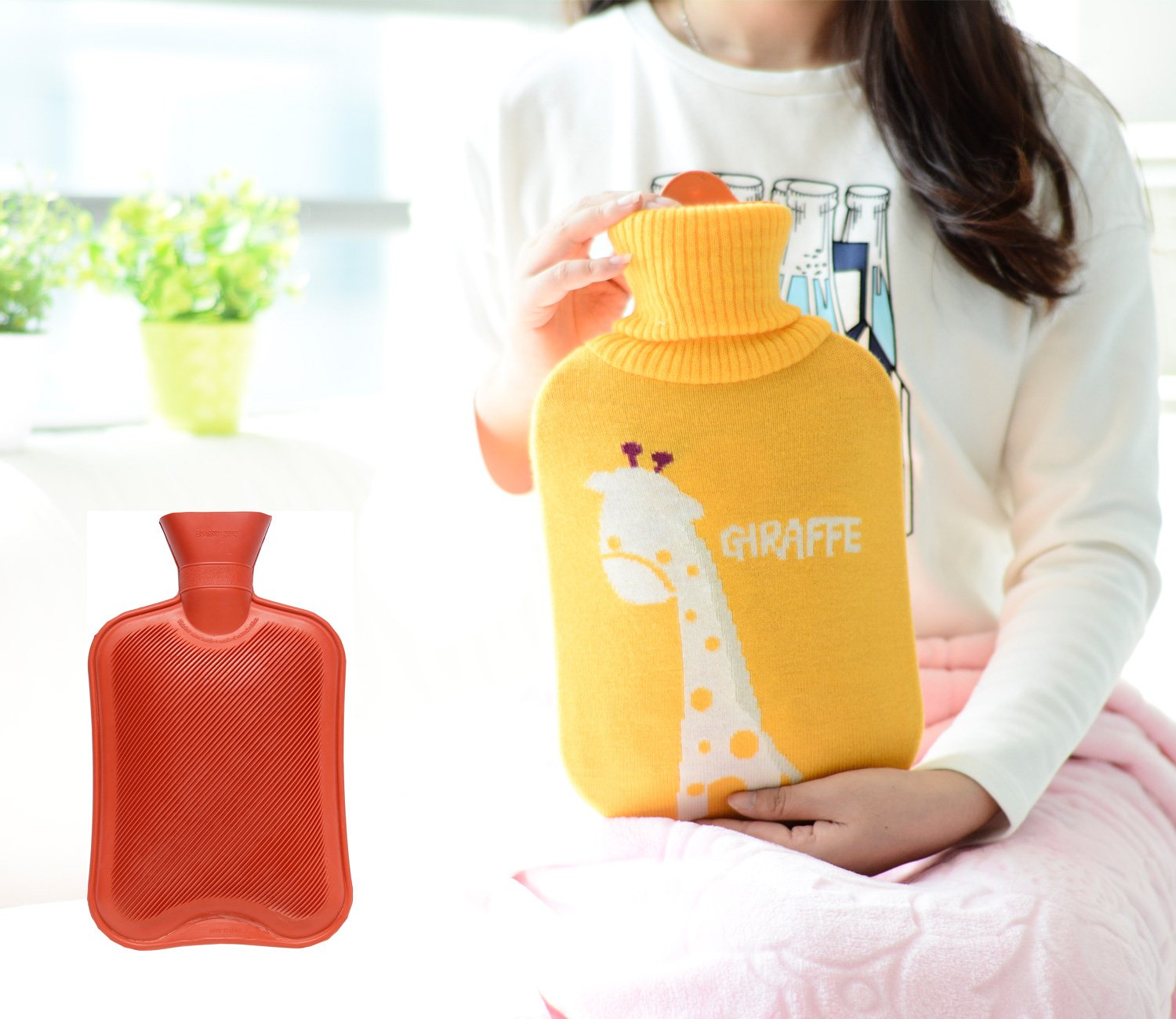 HomeIdeas 2 Liter Classic 100% Natural Rubber Hot Water Bottle with Cartoon Knitted Cover (2L, Red Bottle + Giraffe Cover)