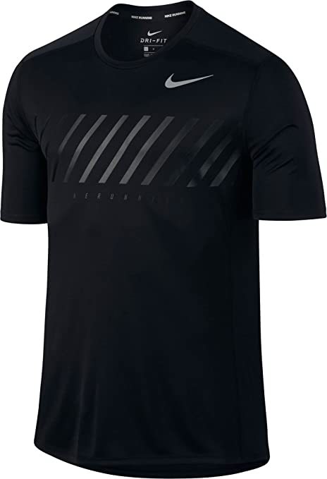 more photos 34f80 654ae Amazon.com   Nike Men s Dry Miler Graphic Running T-Shirt (Black Gym Red,  S)   Sports   Outdoors