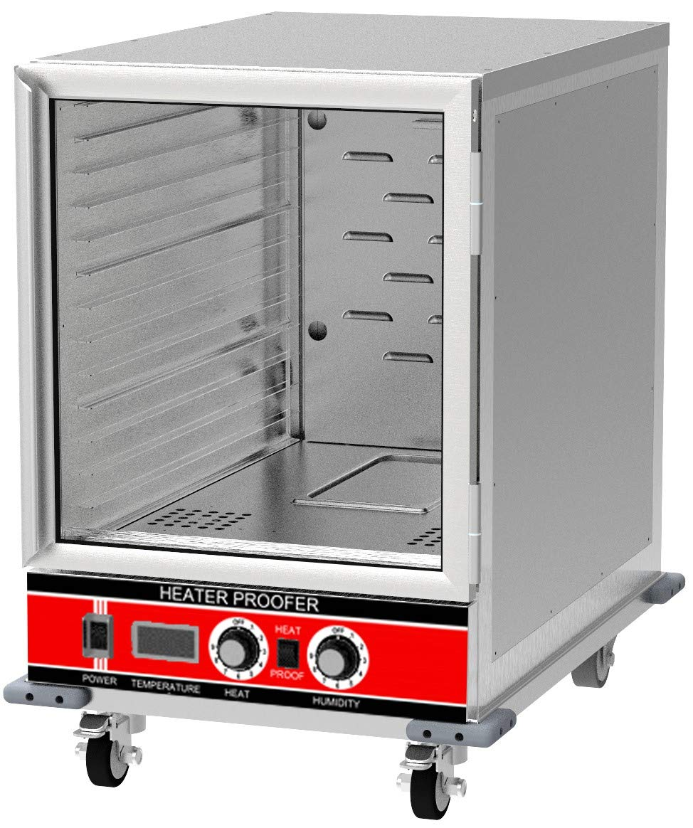 Chef's Exclusive CE805 Insulated Undercounter Heater Proofer Holding Cabinet Clear Door 1500 Watts Commercial Half Size Holds (14) 18in x 26in Sheet Pans Forced Air For Mobile Use, 32.75in Height