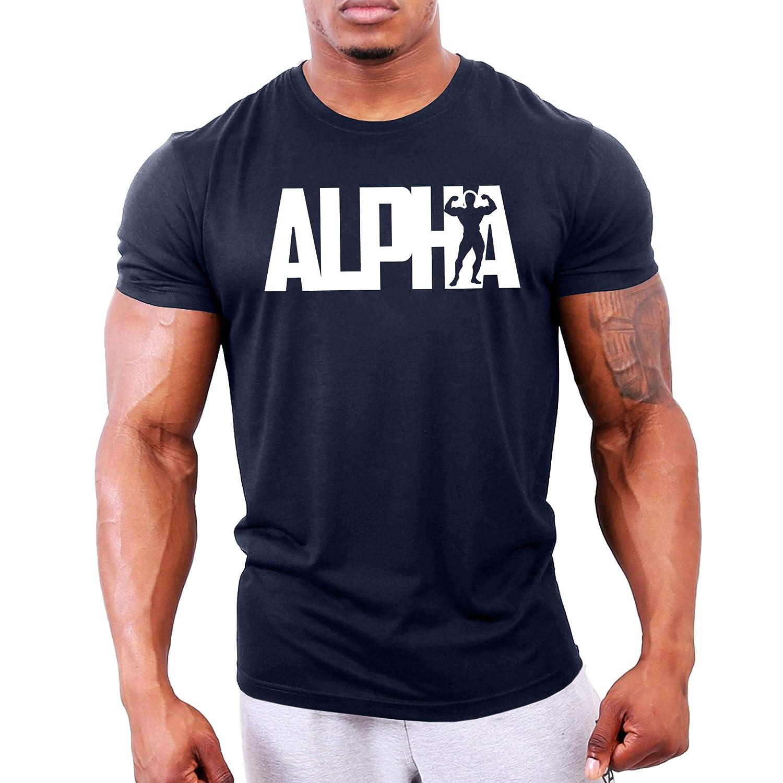 GYMTIER Magliette da Uomo per Bodybuilding Alpha Top per Allenamento in Palestra