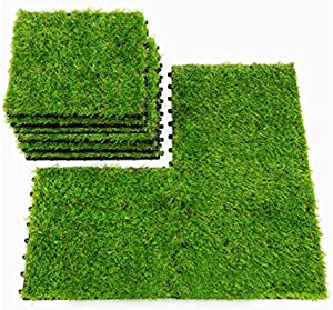 Wink Gal Realistic Artificial Grass Turf Tile Interlocking, Fake Green Grass Synthetic Carpet, Garden Dollhouse DIY Turf Squares, Grass Tiles for Patio 12''x12'' (9, Pieces)
