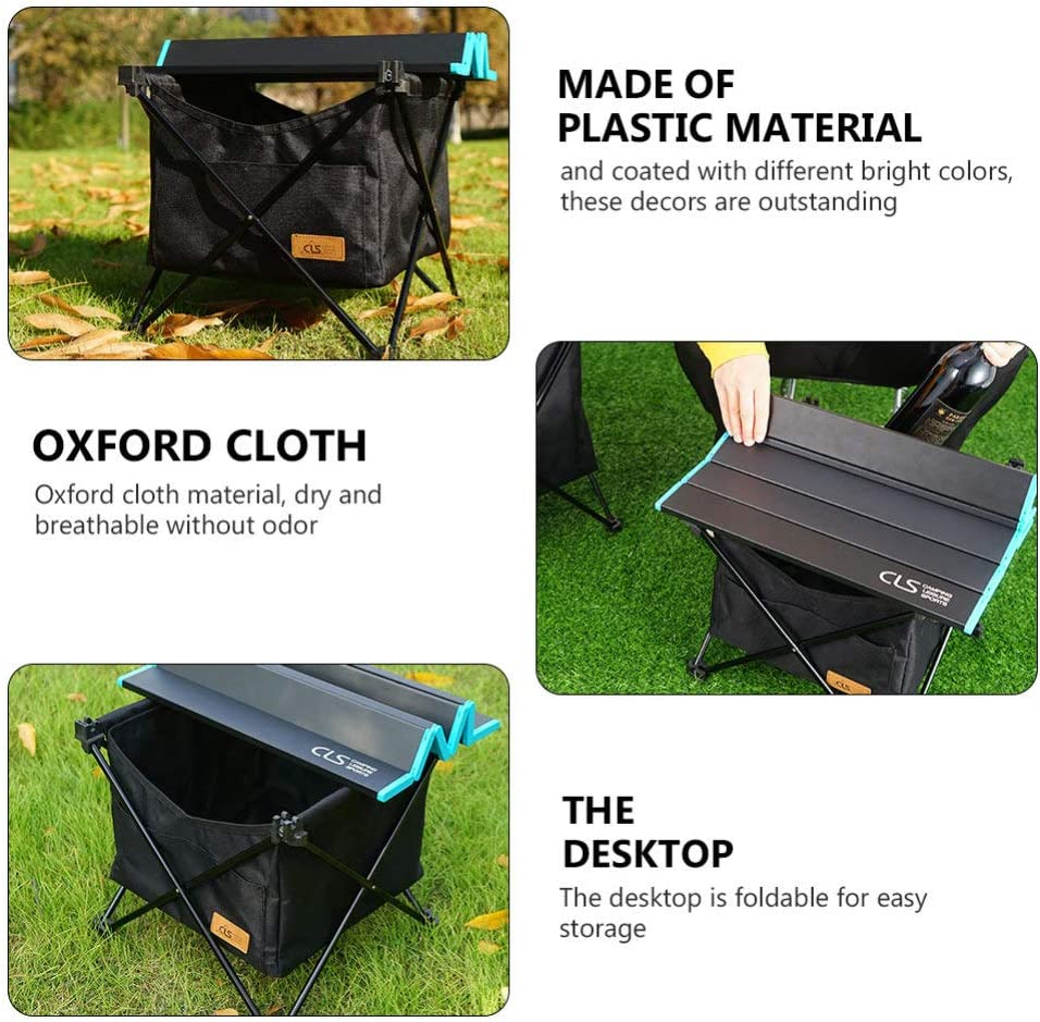 Black Cabilock 1 Set Outdoor Folding Table Portable Storage Pouch Picnic Camping Table Camping Beach Picnic Patio Desk for Backyards BBQ