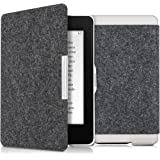 kwmobile Flip Stoff Hülle für Amazon Kindle Paperwhite - E-Book Case Cover Tasche Schutzhülle mit Filz Design in Dunkelgrau