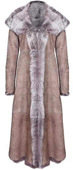Taupe Full Length Hooded Ladies Suede Toscana Sheepskin Leather Trench Coat XS