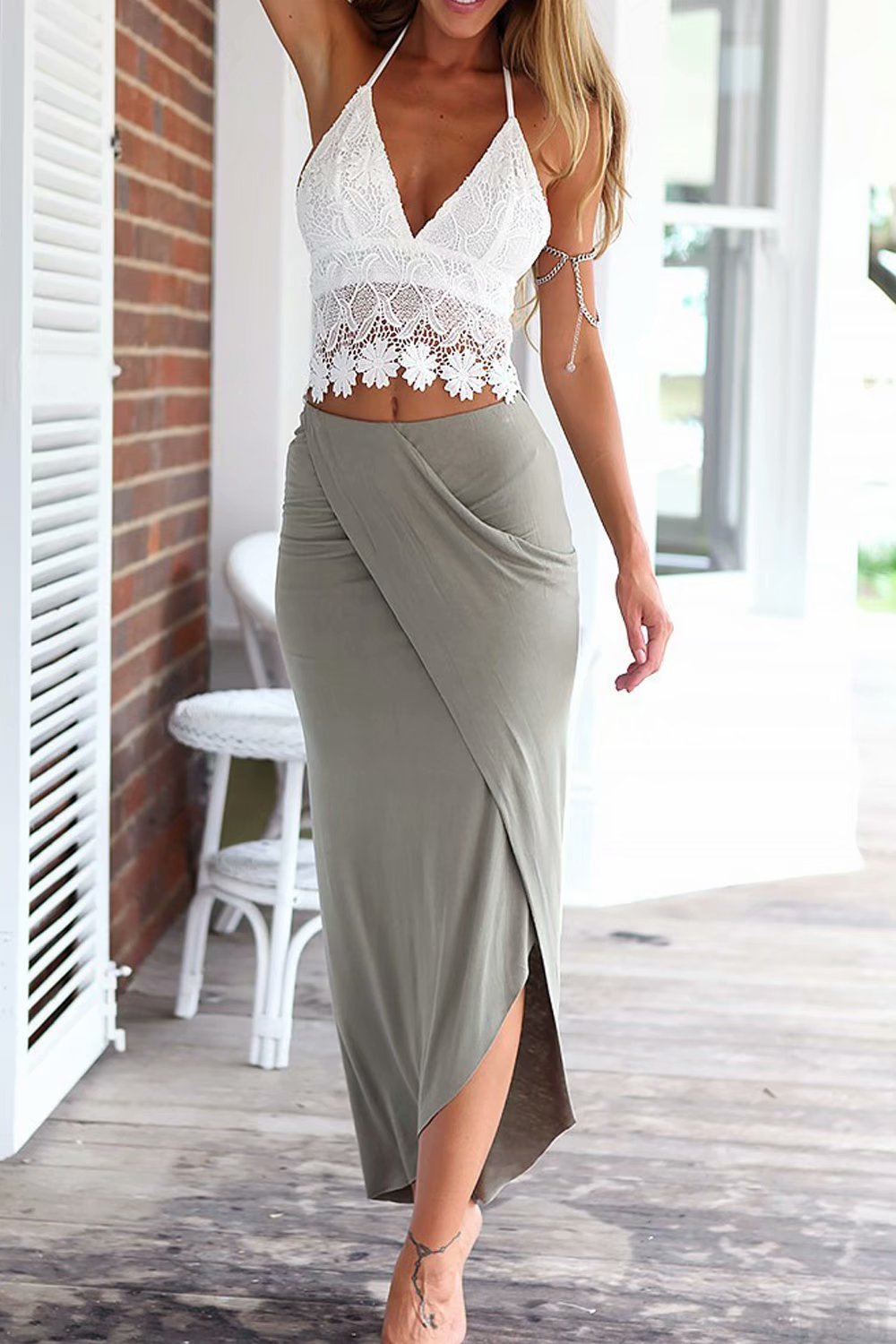 jasit Skirt Set, Women Summer Two Pieces V Neck Backless Lace Tops+Irregular Long Skirt S by jasit (Image #2)