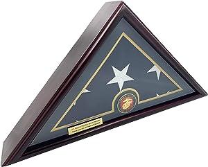 DECOMIL - 5x9 Burial/Funeral/Veteran Flag Elegant Display Case, Solid Wood, Cherry Finish, Flat Base (5x9, Marine)