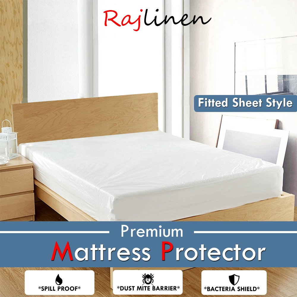 Rajlinen Luxury Terry Cotton Waterproof Mattress Protector White Solid Fitted style Breathable Waterproof Membrane Safe Rest Premium (RV short Queen 10'' Deep, White Solid)