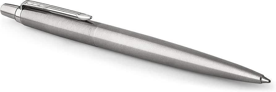 Parker 1953170 Jotter Ballpoint Pen, Stainless Steel with Chrome Trim, Medium Point Blue Ink, Gift Box