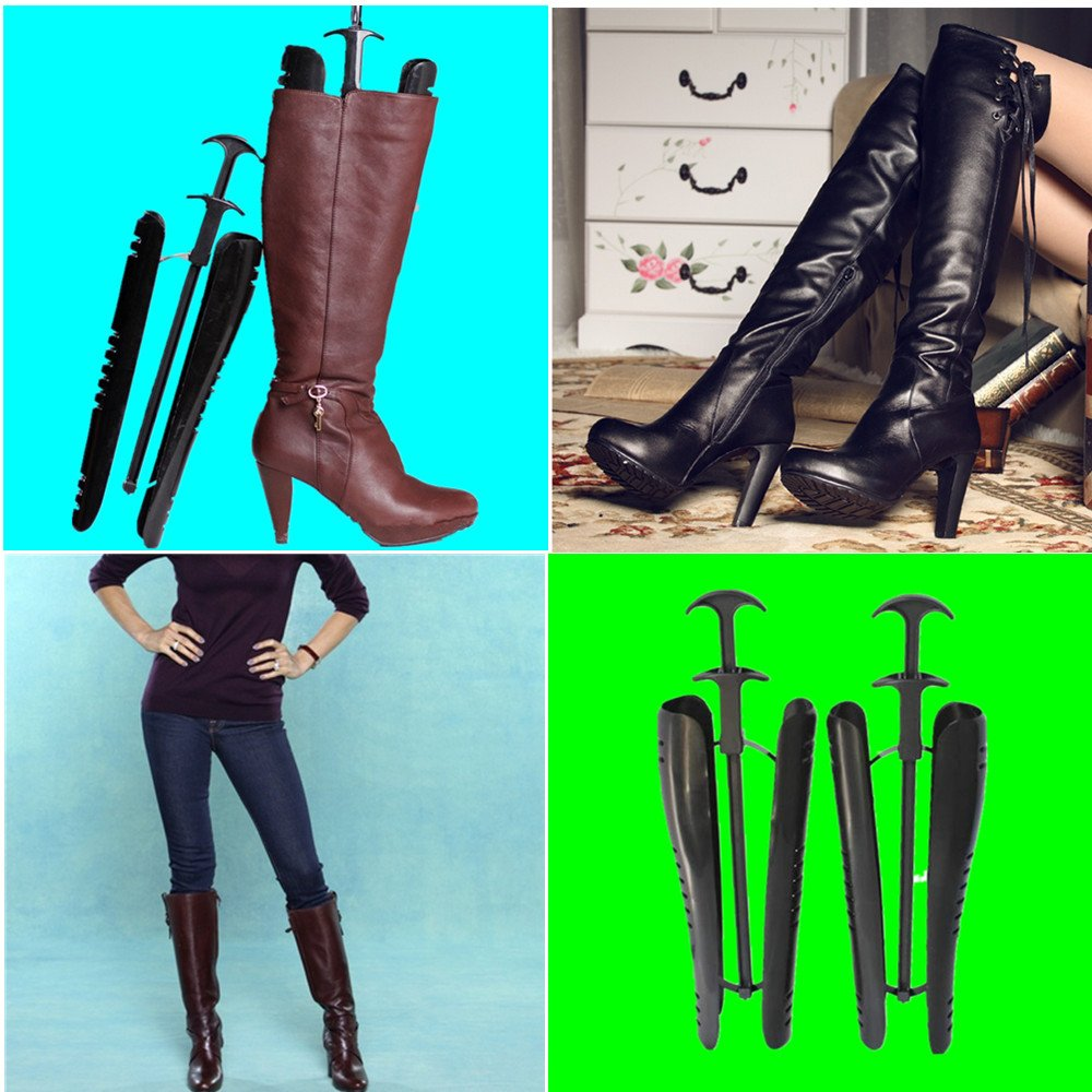4 Pairs of Automatic Black Boot Trees / Boot Shapers 12