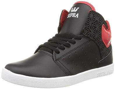 57ac296e6912e Supra - Boys Atom Shoes, Size: 2 M US Little Kid, Color: Black/Red/Black