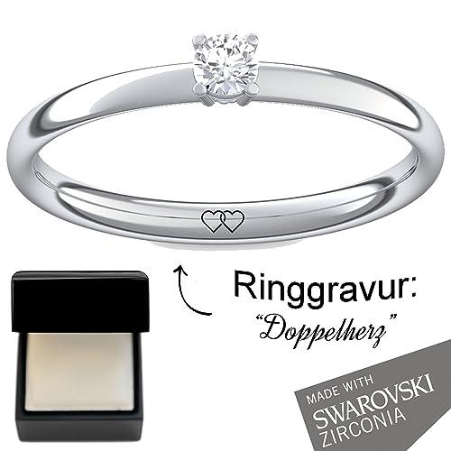 Anillos ** Compromiso anillos con cristales de Swarovski piedra ** & anillo grabado estuche