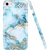 iPhone 8 Case,iPhone 7 Case, LUOLNH Blue and gold Marble Design Slim Shockproof Flexible Soft Silicone Rubber TPU Bumper Cover Skin Case for iPhone 8 /iPhone 7