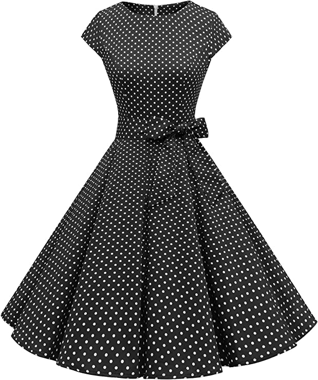 TALLA XXL. Dressystar Vintage 1950s Polka Dot and Solid Color Prom Dresses Cap-Sleeve Black White Dot A XXL