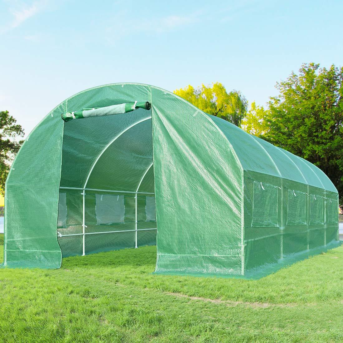 Quictent 2 Doors 20 Stakes Heavy Duty 19.7'x10'x6.6' Portable Greenhouse Large Walk-in Green Garden Hot House 8 Vents + 2 Doors Flow-Through Ventilation