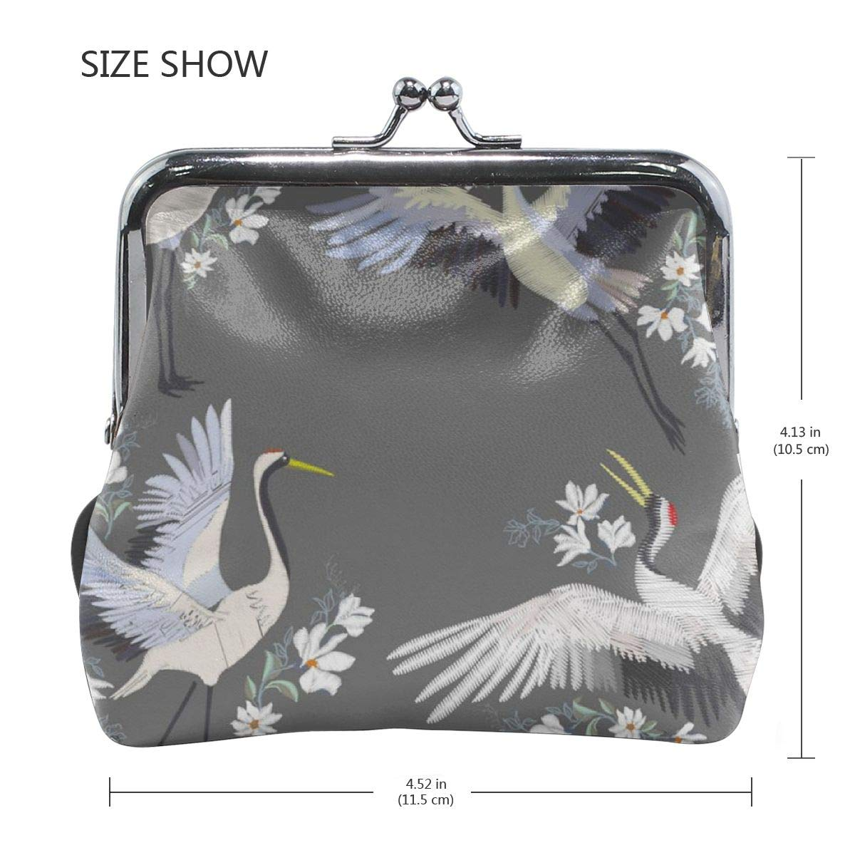 Yunshm Embroidery With Crane Bird Fashion Decoration Personalized Leather Classic Floral Coin Purse Clutch Pouch Wallet For Womens