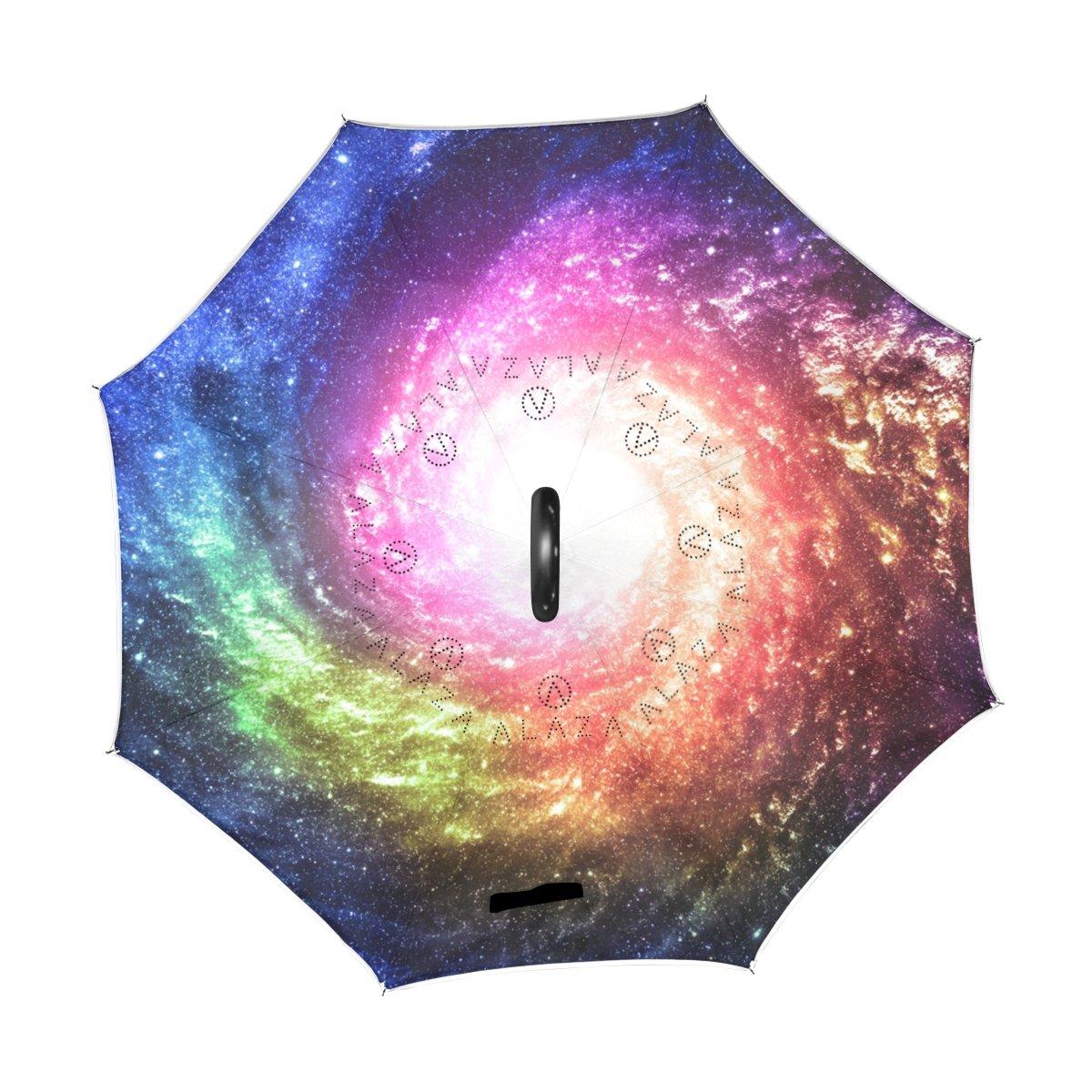 alaza Double Couche Inverted Voitures Umbrella Umbrella arri/ère color/é Galaxy /étoile de n/ébuleuse Coupe-Vent UV Proof Voyage Outdoor Umbrella