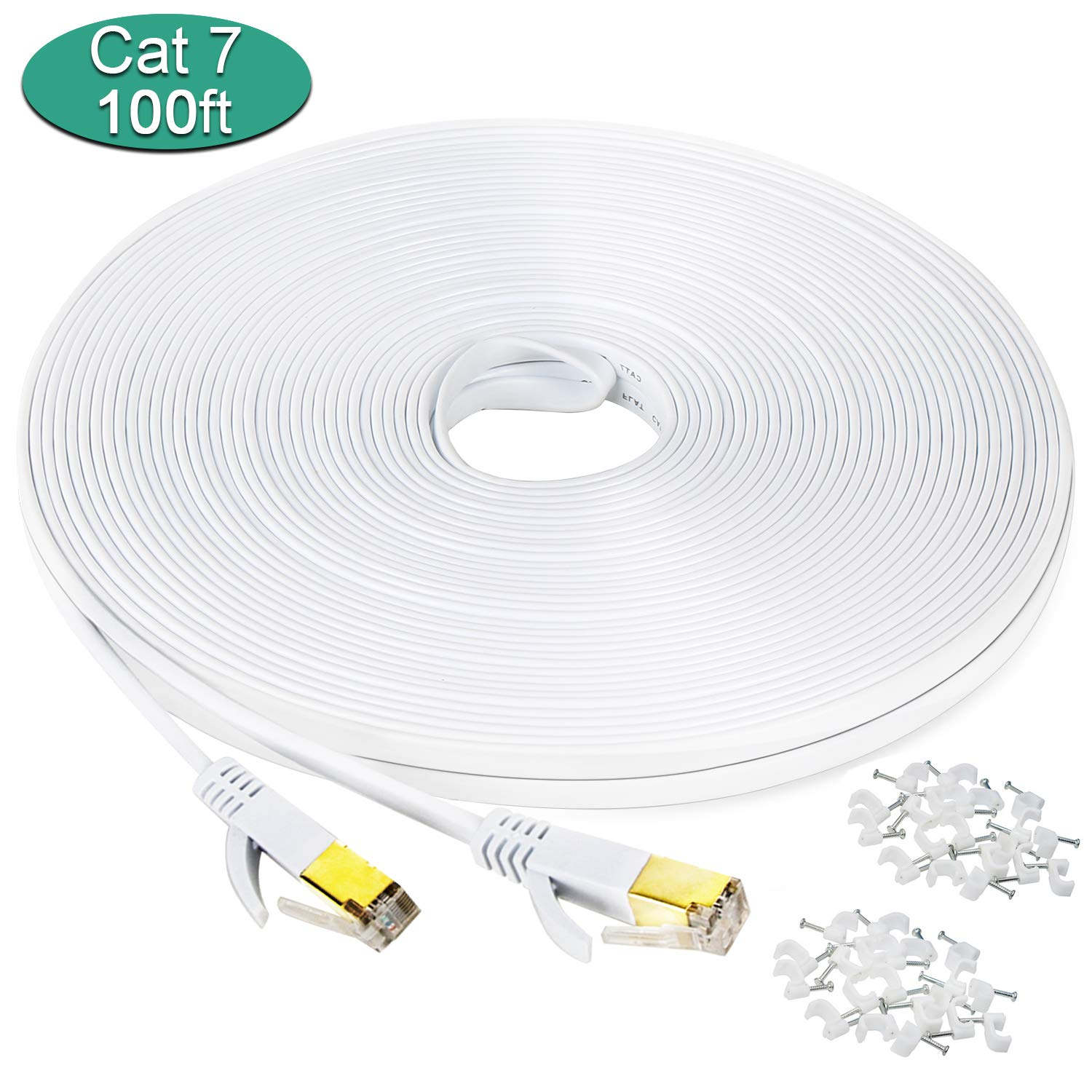 Cat 7 Ethernet Cable 100 ft, Long Outdoor Flat Internet Network Patch Cord with Clips,Faster Than Cat6 Cat6a Cat5e with Gold Plated High Speed RJ45 LAN Wire for Gaming,MAC,Desktop,ADSL,LAN-White by DEEGO