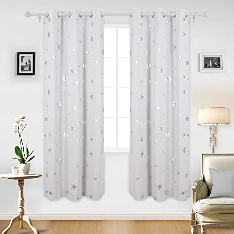 Deconovo Blackout Curtains Sliver Star Print Solid Thermal Insulated Blackout  Curtain 42 X 84 Inch Greyish