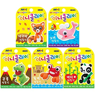 AMOS Mini Clay Set of 5 Animals Making (Raccoon Whale Dinosaur Crab Panda): Toys & Games [5Bkhe1105713]