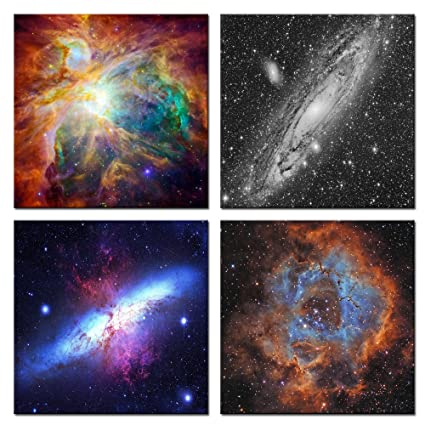 Sea Charm 4 Panels Space And Nebulae Wall Painting Giclee Artwork Abstract Colorful Universe Picture Canvas Wall Art With Wood Frame Modern Home
