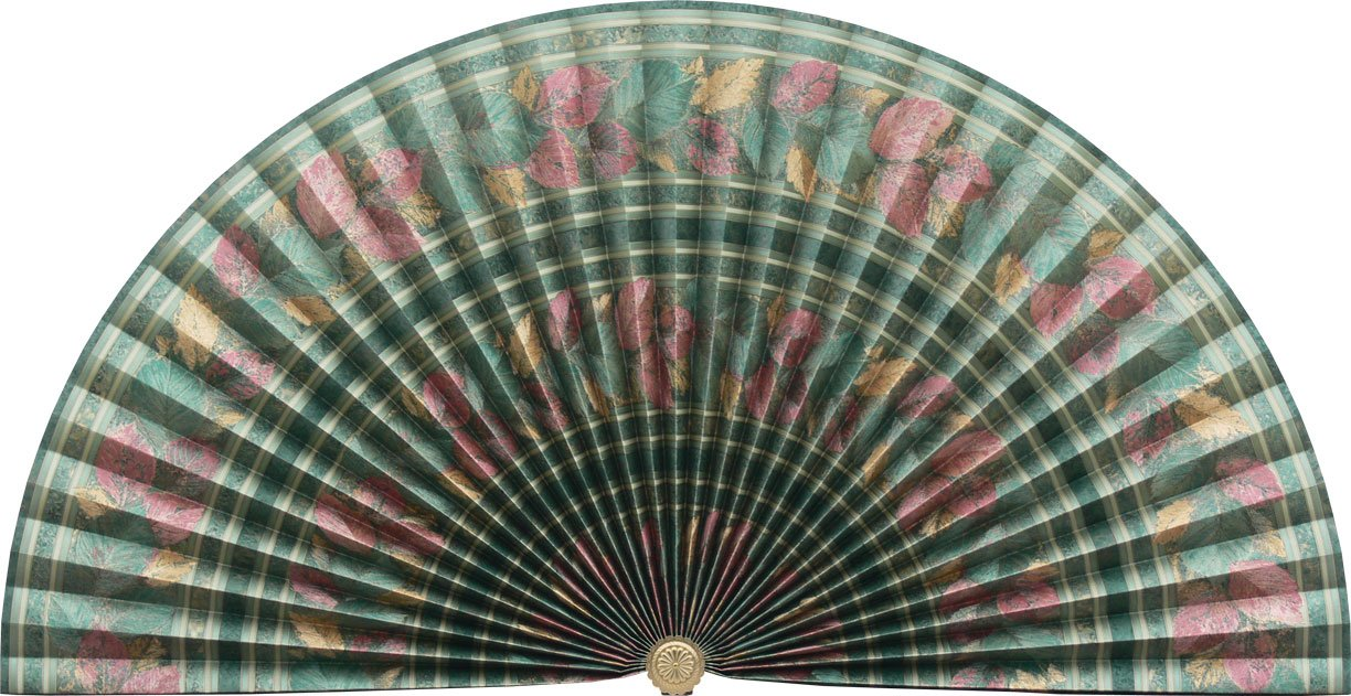 Neat Pleats Decorative Fan, Hearth Screen, or Overdoor Wall Hanging - L106 - Banded & Striped with Leaves: Reds on Green