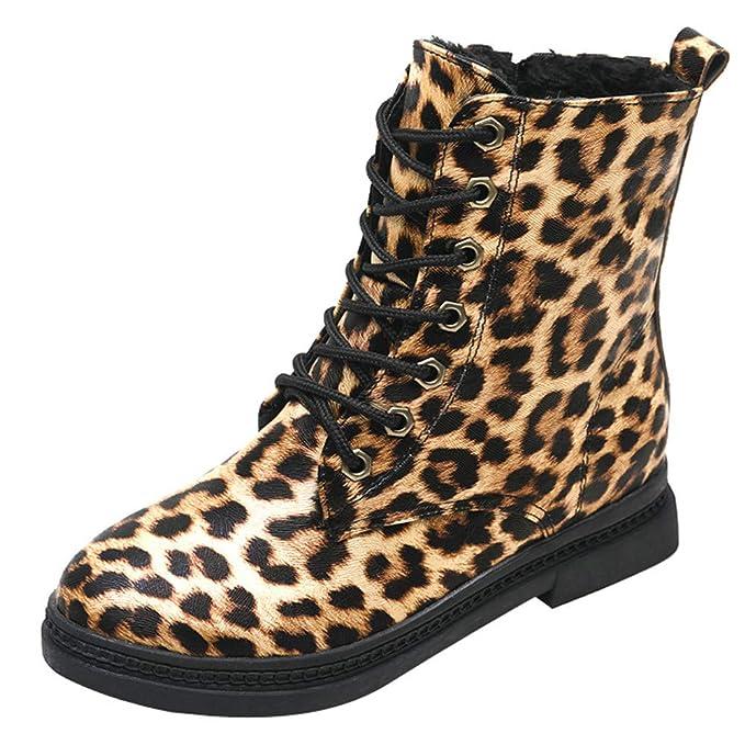 Mymyguoe Botines Mujer Invierno Planos Tacon Ancho con Cordones Zapatos con Estampado de Leopardo para Mujeres Botas Cortas Botines Zapatos Plataforma Black ...