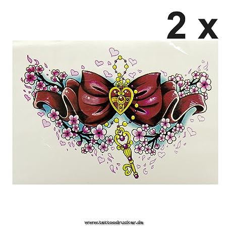 Corazón Lazo Llave Flores Tattoo - Fake temporäres una vez XL ...