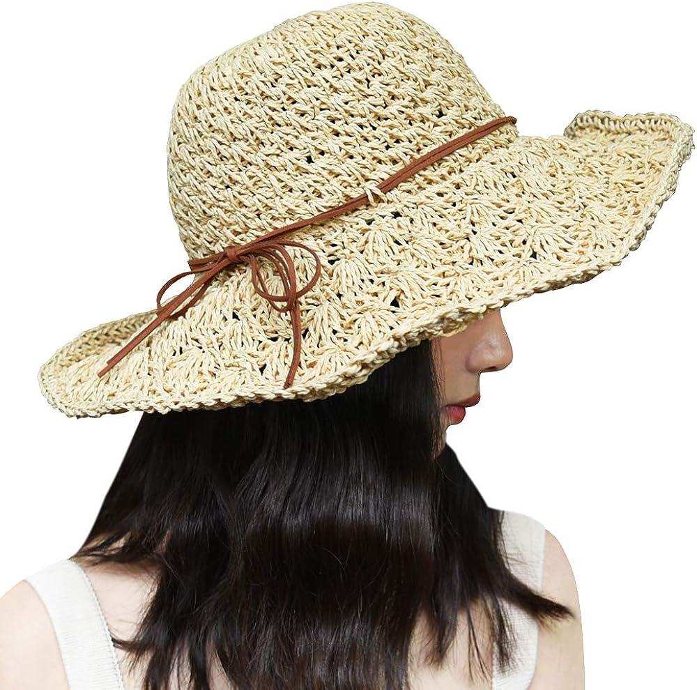 Xixihaha Sun Hats for Women Ladies Wide Brim Foldable Adjustable Summer Floppy Straw Beach Hat UV Protection