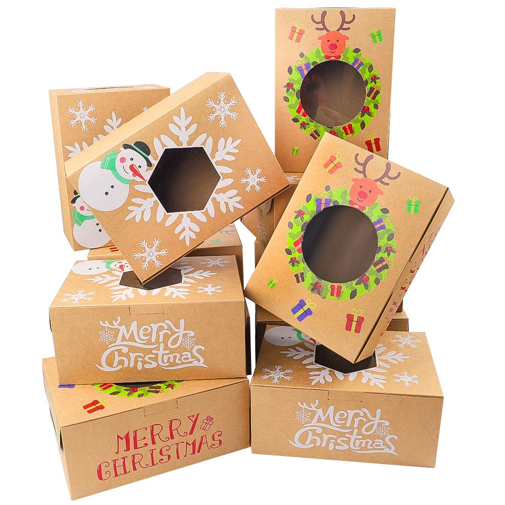 Moretoes 16pcs Christmas Cookie Gift Boxes Treat Boxes For Gift Giving, Pastry, Candy, Party Favors, Vintage Kraft Design with Clear Window by Moretoes
