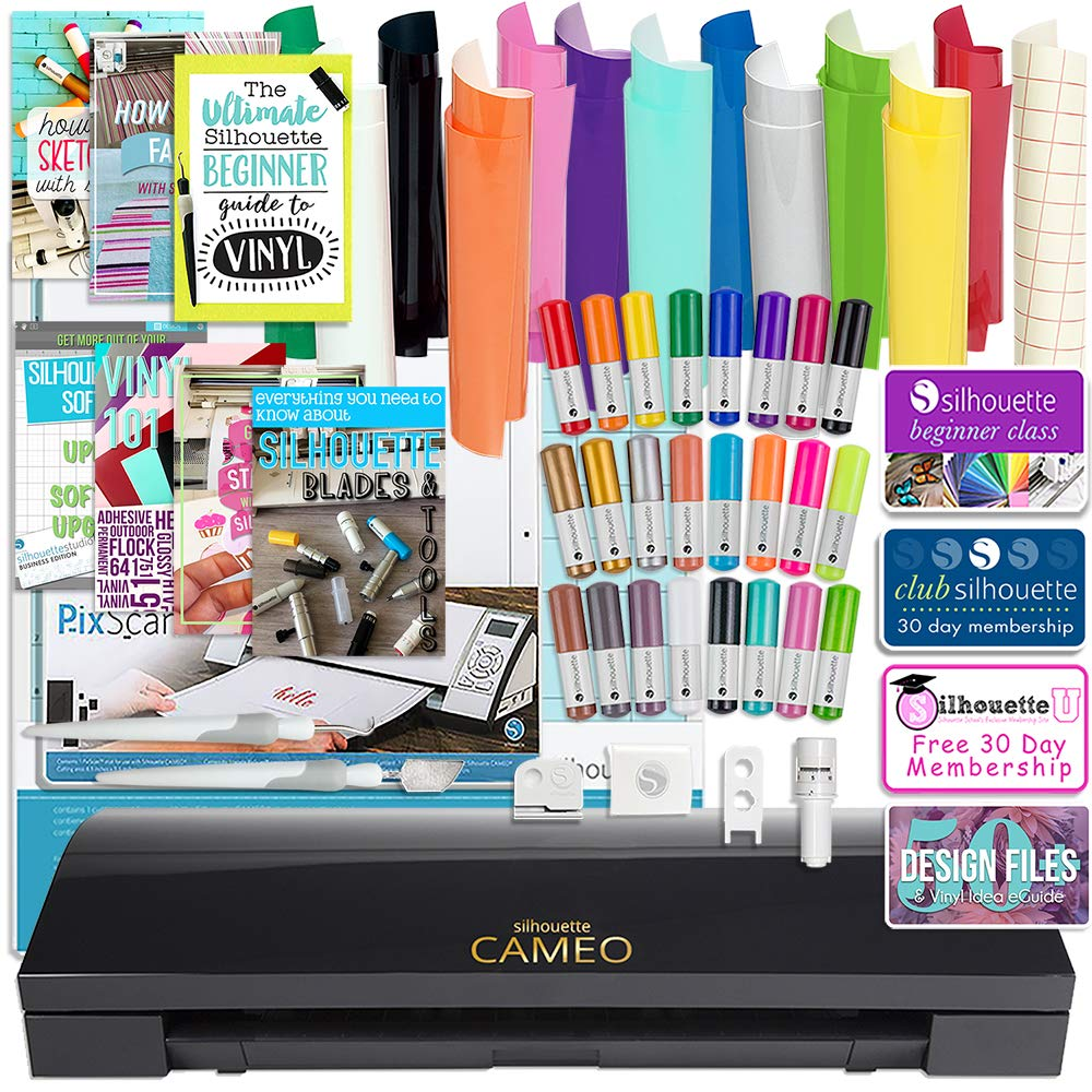 Silhouette Black Cameo 3 Bluetooth Bundle with 12x12 Sheets of Oracal 651 Vinyl, 24 Sketch Pens, Pixscan Mat, Guide Books