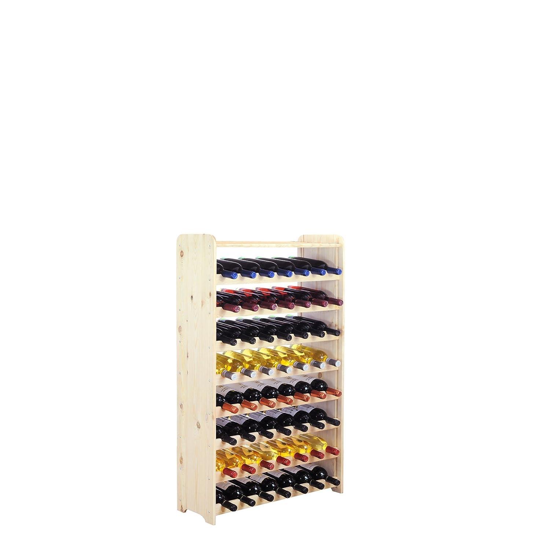 Weinregal/Flaschenregal System'Optiplus' Modell 2 mit Abschlussboard, fü r 56 Fl, Holz, Kiefer Natur VinCasa