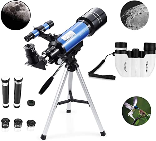 MaxUSee 70mm Refractor Telescope 8X21 Compact HD Binoculars for Kids and Astronomy Beginners, Travel Scope for Moon Stars Viewing Bird Watching Sightseeing