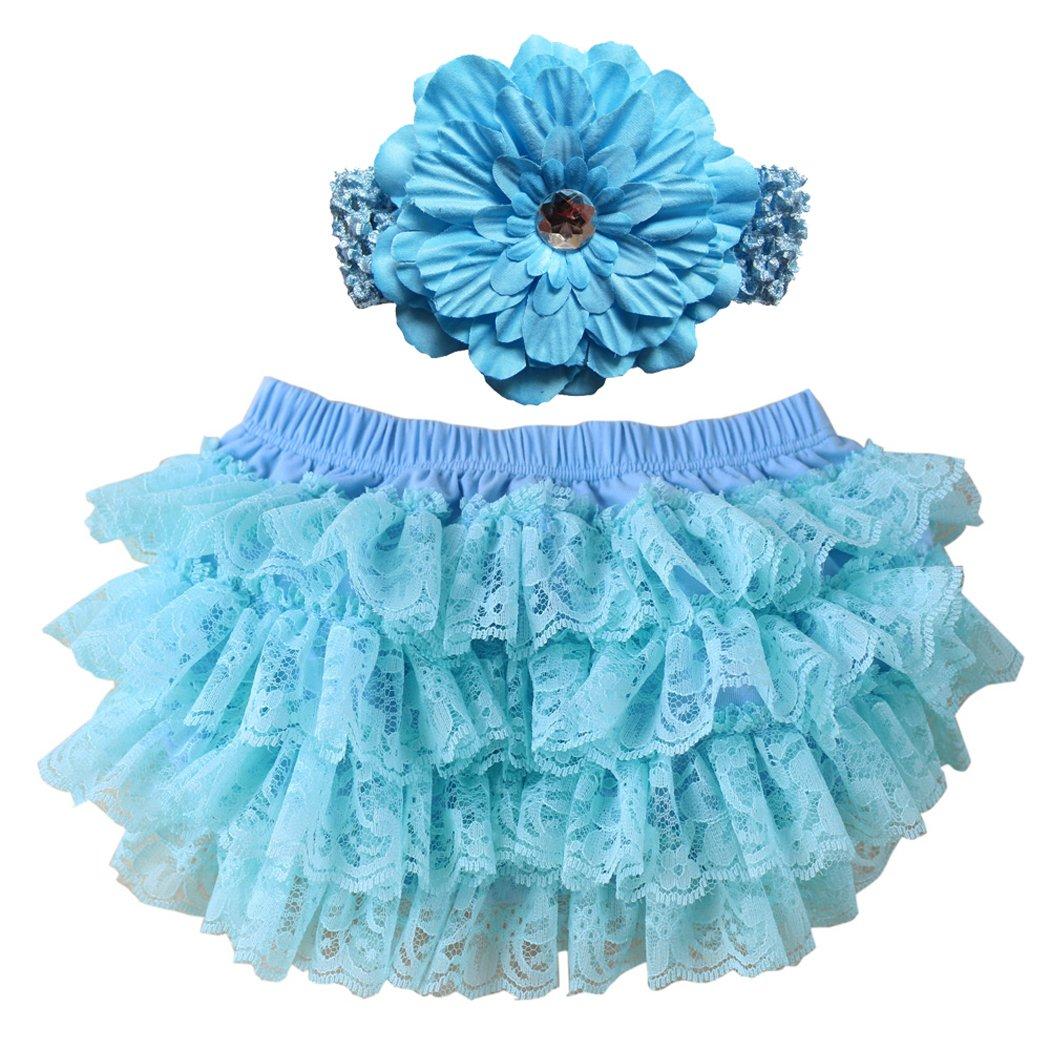 Wennikids Lace Ruffle Diaper Cover Bloomer Headband Set Baby Girls LC-RS-503