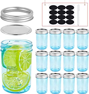 Triple Bubble 8 oz Mason Jars Regular Mouth Set of 12, Small Canning Jars with Lids, Blue Mason Jars Ideal for Meal Prep, Food Storage, Fermenting, Jam, Honey, Yogurt, Jellies