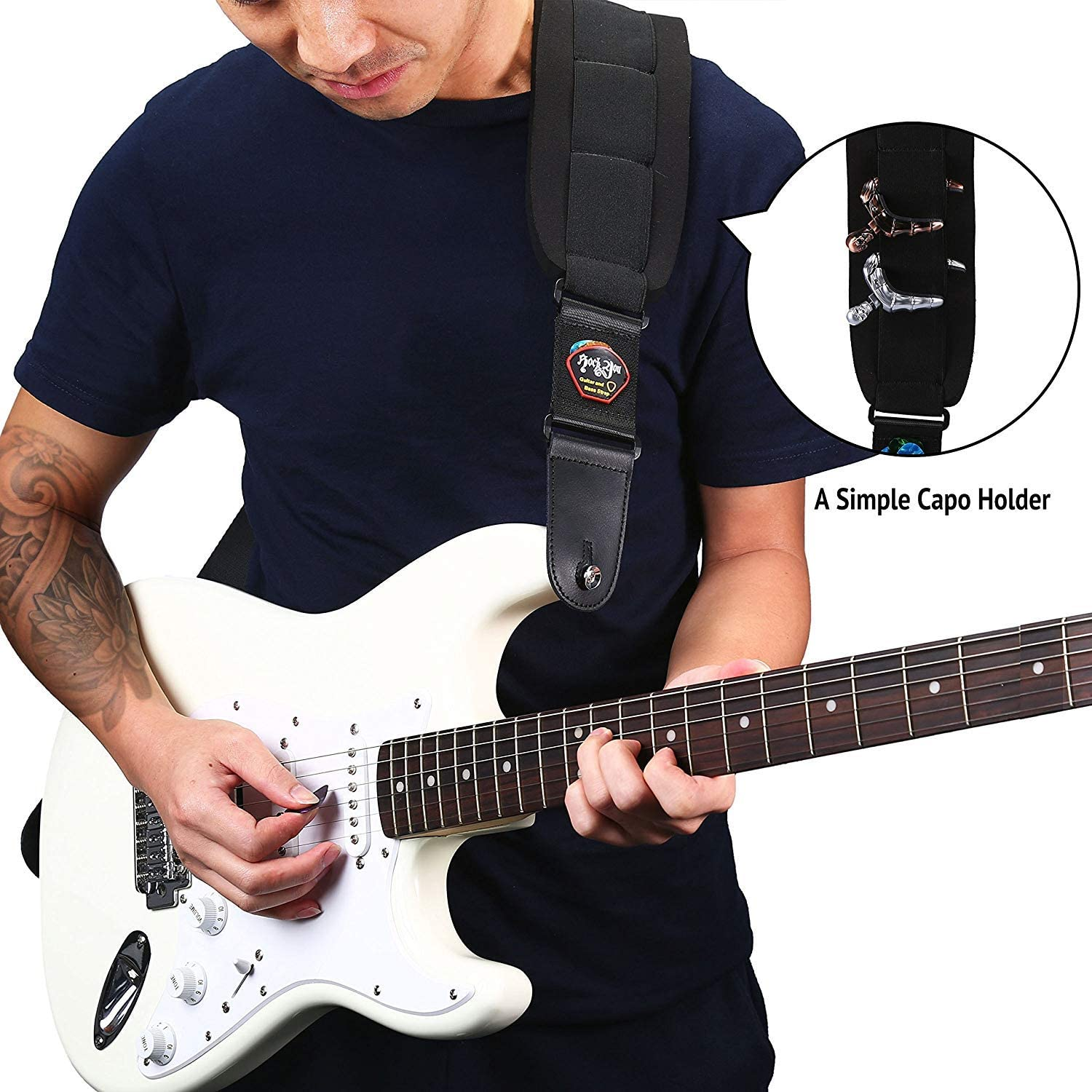 Bass Strap Padded Guitar Strap with Leather Ends and 3.7 inch Wide Neoprene SBR Memory Foam plus Inside Pick Holder Adjustable Length from 43 Inch to 53 Inch for Heavy Bass and Guitars
