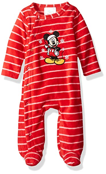 e78499eb1 Amazon.com: Disney Baby Boys' Mickey Mouse Microfleece Footie, Chinese red,  0-3 Months: Clothing