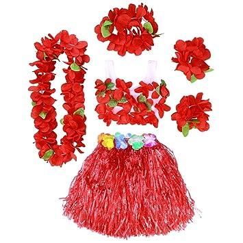 56b65e2b8 BESTOYARD Conjunto de Disfraces de Hula Hawaiana para Niños con Pulseras  Diadema de Flor Roja  Amazon.es  Juguetes y juegos