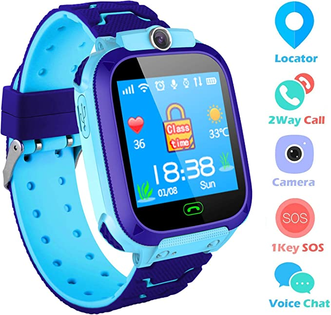 Kids Smartwatch,THEMOEMOE GPS Kids Tracker Samrt Watch with Camera Calls SOS Smart Watch for Kids Girls Boys(Blue)