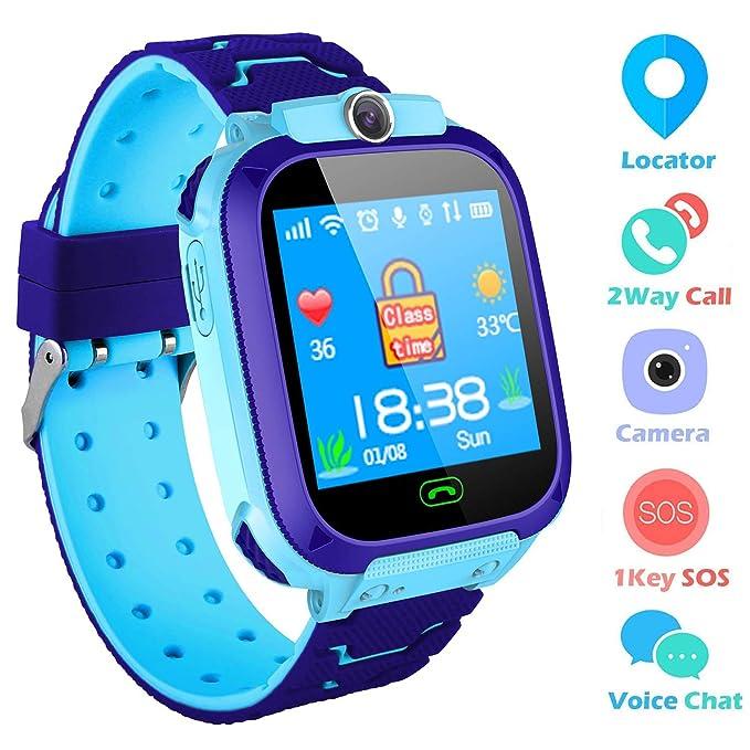 Niños Smart Watch Phone, GPS Tracker Smartwatch para niños de 3-12 años Niñas con cámara SOS Ranura para Tarjeta SIM Juego de Pantalla táctil Smartwatch ...