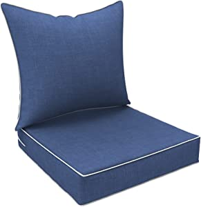 LVTXIII Outdoor/Indoor Deep Seat Cushions, All Weather Deep Seat Chair Cushion Set for Patio Furniture, Navy Textured