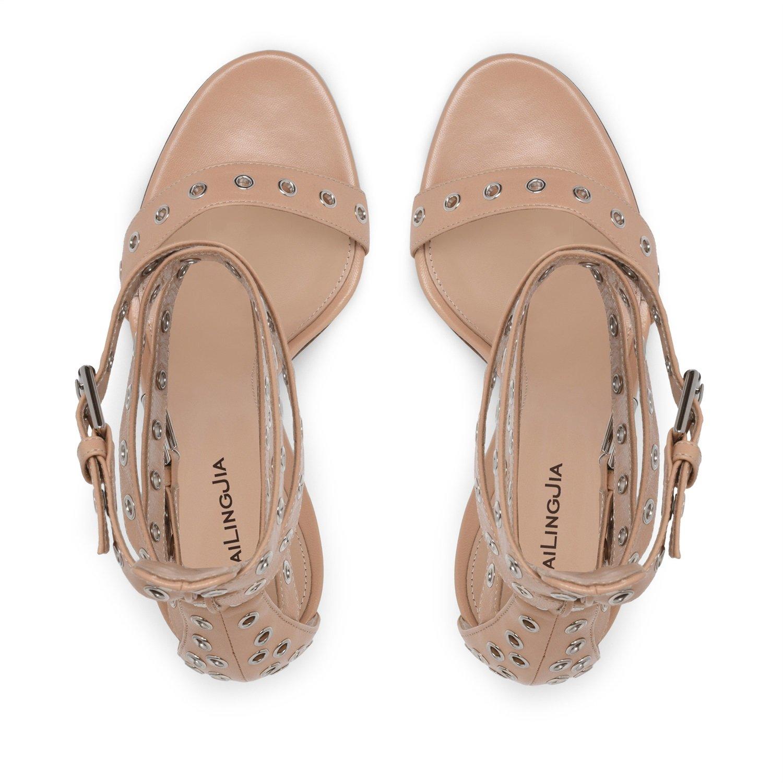 Damen Damen Frühling Sommer und und und Herbst Fashion Plattformen Stilettos High Heels Sandalen Damen Feine Ferse Big Code Nude Farbe Sandalen (Größe   35) 917ae1