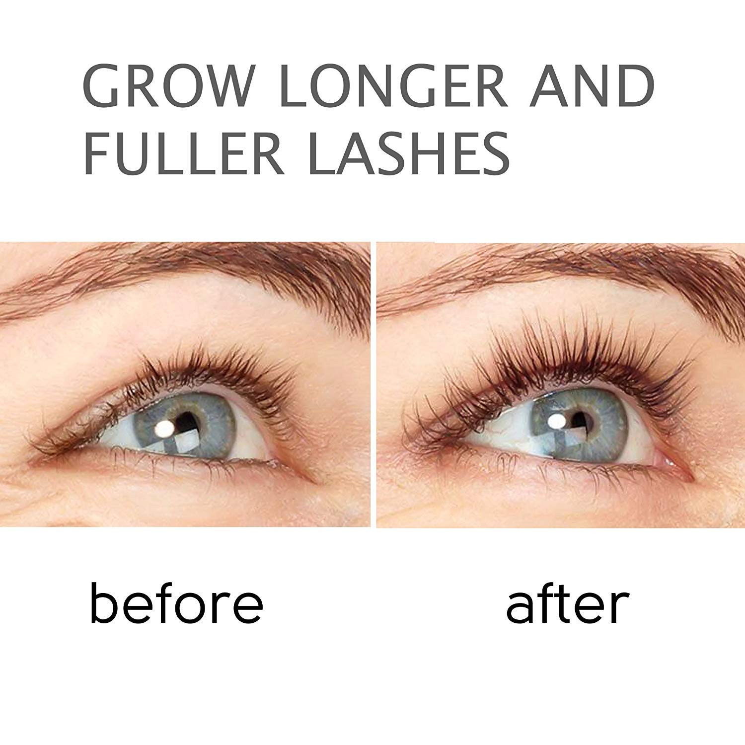 Amazon.com: Natural Eyelash Growth Serum - Lash Booster & Eyebrow Enhancing Serum to Grow Thicker, Longer Lashes - USA-Made Eyelash Enhancer and ...